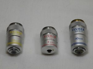 Fisher Microscope Objectives 4x 10x 40x Lot Of 3 Very Good Condition