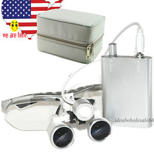 Fda 2 5x 420 Surgical Dental Binocular Loupes W Led Head Light Lamp Cloth Case