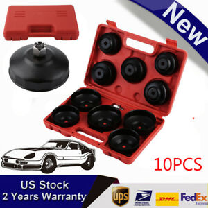 10pc Universal Oil Change Filter Cap Ratchets Wrench Cup Socket Tool Set Auto Bp