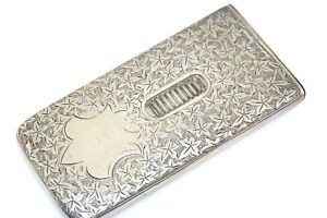 Victorian English Hallmarked Floral Pattern Calling Card Case Match Safe