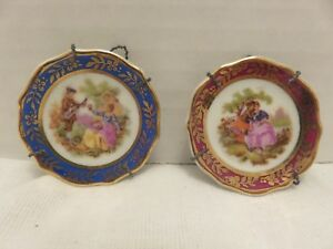 Vtg Limoges Miniatures Display Porcelain Plates France Romantic Couples Lot Of 2
