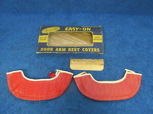 1941 48 Plymouth Dodge Desoto Red Armrest Covers Pair Nos 118