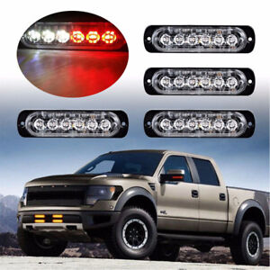 4x 6 Led Light Bar Flash Emergency Car Vehicle Warning Strobe Flashing Red White