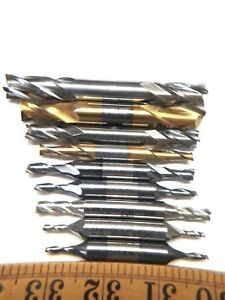 1 8 To 1 2 Hss Double End End Mills Lot Of 9