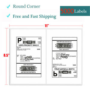 8 5x5 5 Self Adhesive Shipping Labels 5000 Half Sheet Round Corner Usps Fedex
