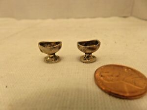 Vintage Sterling Silver Dollhouse Miniatures Oval Shape Cups Sauce Stand Lot 2