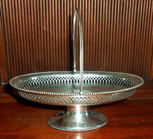 Small 1860s Sterling Silver Pierced Swing Handled Basket Tray