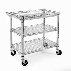 Rolling Stainless Steel Storage Utility Cart Heavy Duty Adjustable Shelves