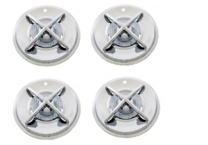 Set 4 15 Spinner Style Hubcaps Crossbar Wheelcovers Chrome Hot Rod Custom