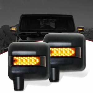 For 2007 17 Jeep Wrangler Jk Led Sidelight Rear View Mirror Turn Signal Lights