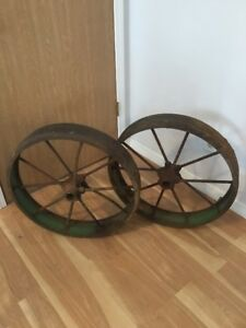 Antique Steel Spoked Wagon Implement Wheels Iron Hub Cart Rustic Repurpose