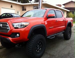 05 18 Toyota Tacoma Double Cab Black Nerf Bars Side Steps Running Boards Rails