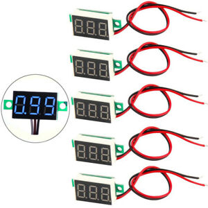 5x Mini 0 36 Blue Dc 3 30v Led Panel Voltmeter 3 Digital Display Voltage Meter