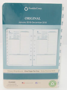 2018 Franklin Covey Original One Page Per Day Classic Ring bound Planner Refill