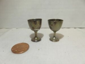 Vintage Sterling Silver Dollhouse Miniatures Wine Cups Glasses Of 2 7