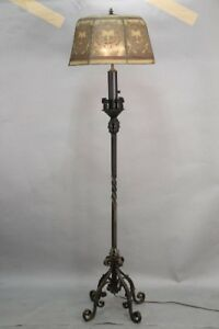 Antique Spanish Revival Floor Lamp With Mesh Shade Circa 1920 S 10880