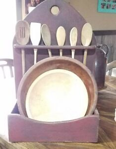 Primitive Spoon And Wooden Bowl Holder Hang Or Sit For Display