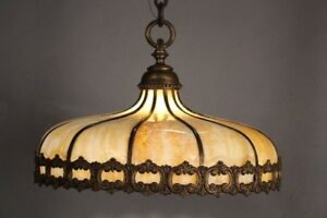 Spanish Revival Antique Brass And Slag Glass Dome Like Chandelier 1920 S 10891