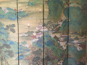 Huge And Important Chinese Antique Painting On Silk Room Screen Artist Signed