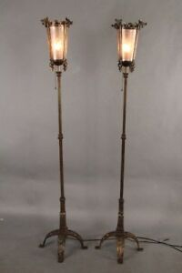 Antique Pair Of 1920s Spanish Revival Torchieres Attributed By Oscar Bach 10903