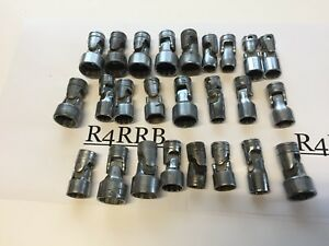 25pc As Is All Snap On Tools Usa 3 8 Drive Chrome Swivel Sockets Mixed Lot