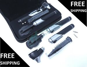 Dual Handle Led Fiber Optic Otoscope Ophthalmoscope Diagnostic Ent Set Black