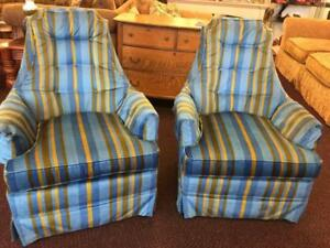 Pair Of Adrian Pearsall Style Velour Fabric High Back Lounge Swivel Chairs