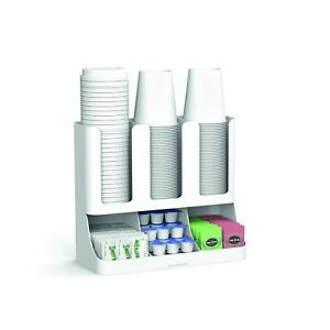 Cup And Lid Holder Organizer Coffee Stand Station Office Home Kitchen Rack White