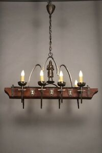 Antique Eight Light Wood And Iron Chandelier With Knight Circa 1930 S 10927