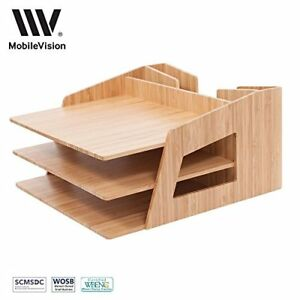 Office Desktop Bamboo Organizer Files Paper Tray Letter Sorter Document Holder
