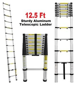12 5 Ft Multi purpose Aluminum Telescopic Telescoping Ladder En131 Extension New