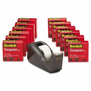Transparent Tape Dispenser Scotch 1 Core Black 12 Pack 3m