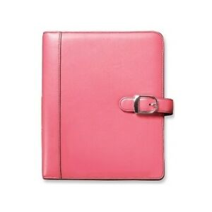 Pink Leather Day Planner Personal Desk Size Organizer Starter Set Office