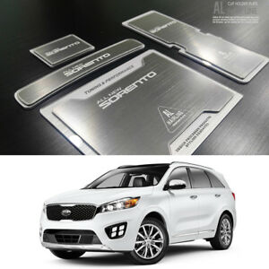 Aluminum Hairline Two Block Cup Holder Console Plate 4p Kia Sorento 2016 2017