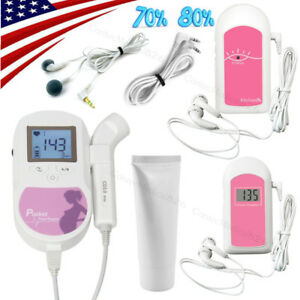 Us Seller pocket Fetal Doppler lcd Prenatal Heart Monitor baby Monitor free Gel