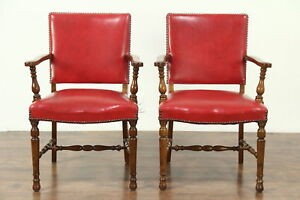 Pair Of Carved Antique Walnut Office Or Library Chairs Red Faux Leather