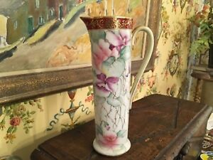 Antique Decorative Tall Porcelain Pitcher Floral Gold Early 1900s 10 Tall