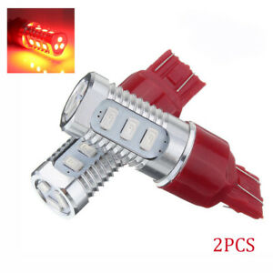 2x 7443 Red Flash Strobe Rear Safe Alert Brake Tail Stop Led Flashing Lamp Bulbs