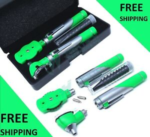 Dual Handle Fiber Optic Otoscope Ophthalmoscope Exam Led Diagnostic Set Green