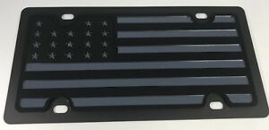 Tactical Black Ops Black Grey Subdued American Flag Steel Premium License Plate
