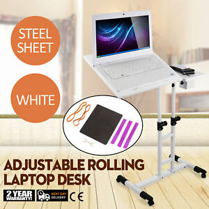 Adjustable Height Rolling Laptop Desk Table Anti slide Over Sofa W wheels Pro