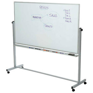 Rolling Magnetic Dry Erase Whiteboard Double Sided 96 X 40 Lot Of 1