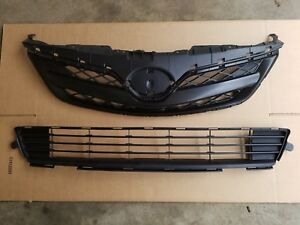 Fits 2011 2013 Toyota Corolla Front Bumper Upper Lower Grille Pair 2pc Set New