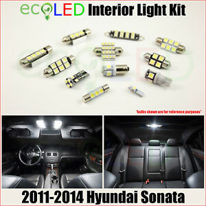 For 2011 2014 Hyundai Sonata White Led Interior Light Replacement Package Kit 8x