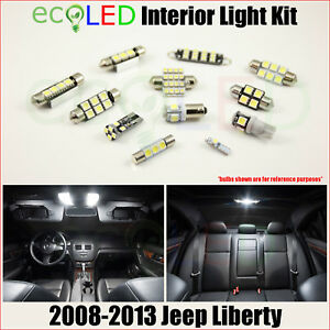 Fits 2008 2013 Jeep Liberty White Led Interior Light Accessories Kit 9 Bulbs