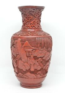 Antique Chinese Cinnabar Vase Late 1800 S 6 75 Inches Tall