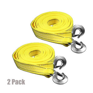 5 Tons Car Tow Cable Towing Strap Rope With Hooks Heavy Duty 20 Ft 2 Packs