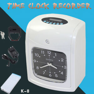 K8 Electronic Time Clock Punch Card Machine Employee Work Hours Payroll Recorder