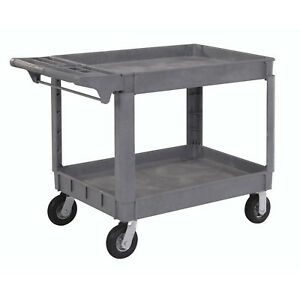 Large Deluxe 2 Shelf Plastic Cart 6 Pneumatic Casters 46 l X 25 w X 35 h