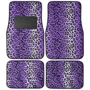 Purple Leopard Car Carpet Floor Mats Front Rear Cover Auto 4pc Animal Print